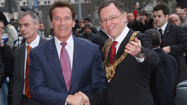 Schwarzenegger Visits Hanover City and CeBIT Technology Fair