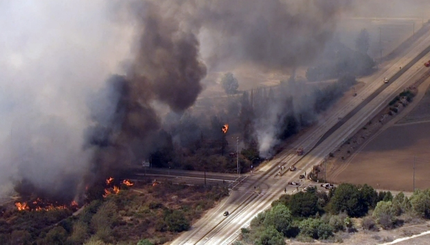 Firefighters Attack Growing Brush Fire in Montebello