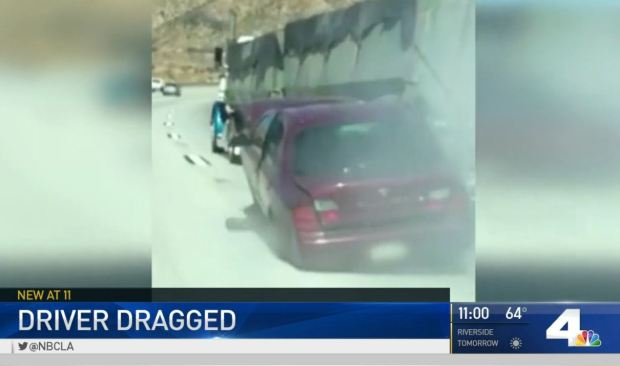 [LA - ONLY] Viral Video Shows Car Dragged by Truck in Cajon Pass
