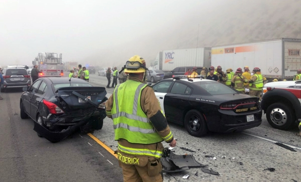 PHOTOS: About 30 Vehicles Crash in Foggy Mountain Pass