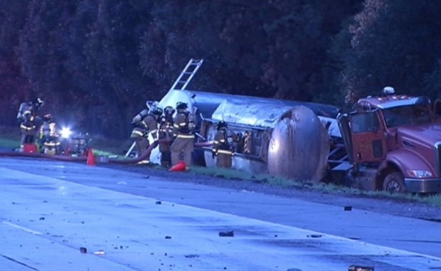 [BAY] Tanker Spills 4,000 Gallons of Gas, Shuts Highway in Morgan Hill