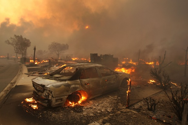 Getty Images: Homes Burn in Sylmar Fire