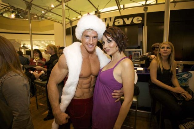 Hunky Santa, Trapeze Artists at the Beverly Center