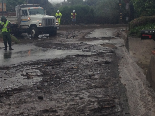 Rain Sends Mud Sliding Into Glendora Streets
