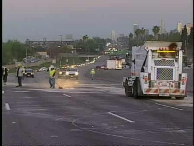 [LA] Crews Respond to Flipped Tanker (RAW)
