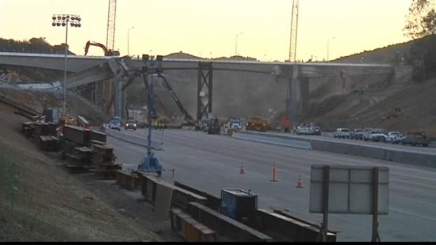 [LA] NBC4 Timelapse of Mulholland Bridge Demolition, Sept. 30