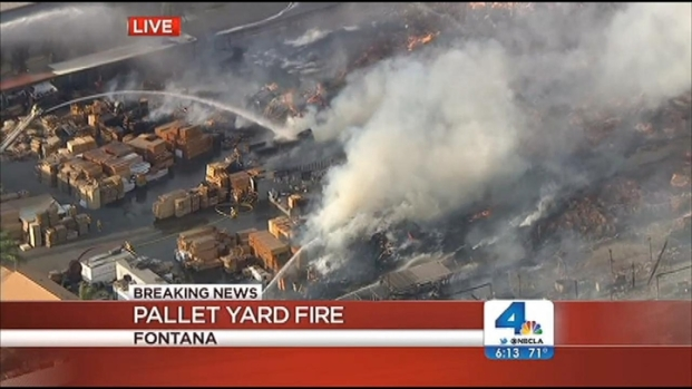 [LA] Fire Rips Through Yard of Wooden Pallets in Fontana