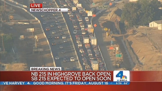 [LA] Portions Of The 215 Freeway Reopened After A Gas Leak