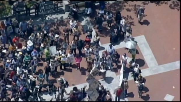 [BAY] RAW VIDEO: Chopper Over Oakland Justice for Trayvon Rally