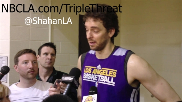 [LA] Pau Gasol On Dwight Howard Partnership at Lakers Practice