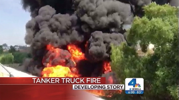 [LA] Fiery Tanker Truck Crash Spills Fuel into River, Closes Freeway