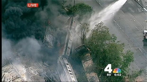 [DC] Crews Continue to Battle Fire at Site of Train Derailment