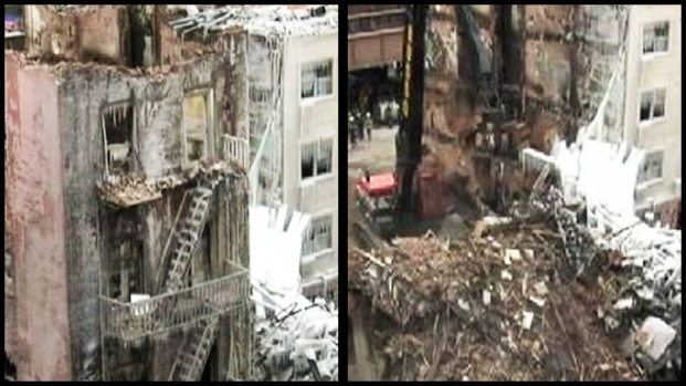 [NY] RAW: Final Walls of Exploded Building Come Down