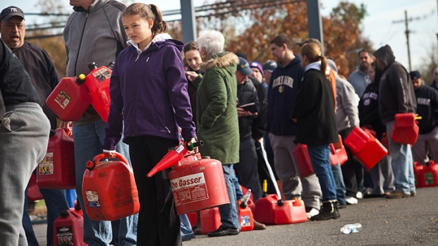 Lines for Gas in New Jersey After Hurricane Sandy