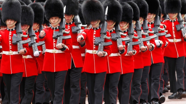 "[AP] Guardsmen Play ""Congratulations"" at  Buckingham Palace in Celelebration of Royal Baby"