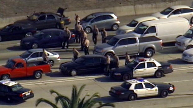 [LA] Aerial Video: Vehicle-to-Vehicle Search Closes 110 Freeway in South Los Angeles