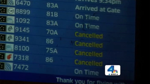 [LA] Flight Cancellations Cause Chaos at LAX