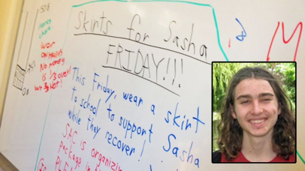 [BAY] Students Wear Skirts of Support for Sasha Fleischman