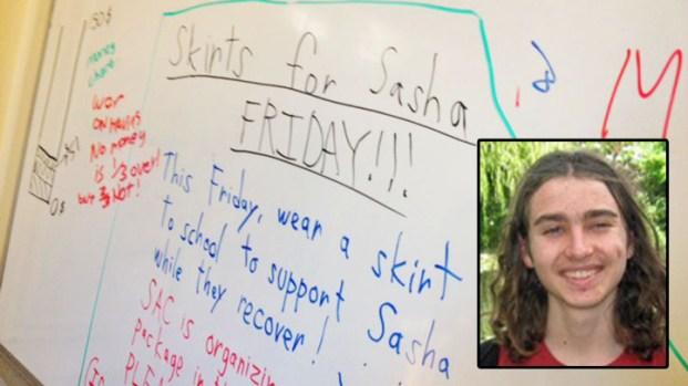 [BAY] Students Wear Skirts of Support for Sasha Fleischman