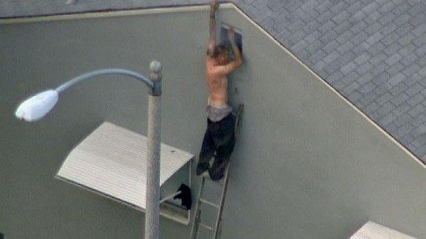 [LA] Half-Naked Man Surrenders After Apparent Tear-Gassing