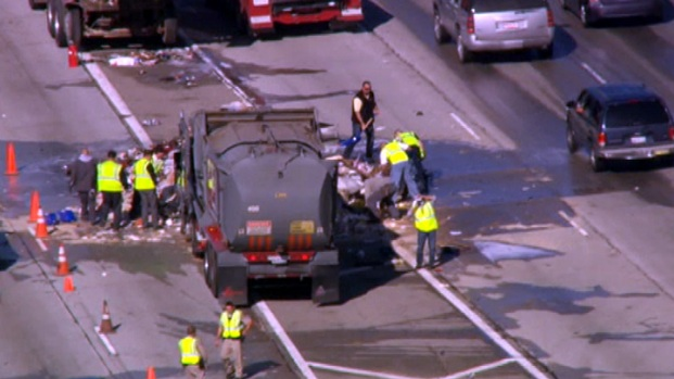 Sanitation Truck Spill in Sylmar Slows Holiday Traffic