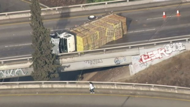 Overturned Truck Snarls Traffic