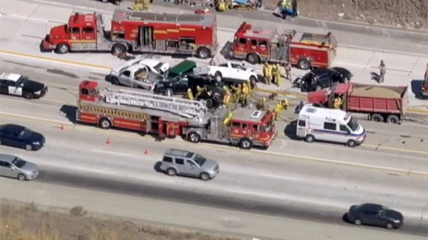 [LA] Raw Video: Rescue Workers Respond to Multi-Car Crash