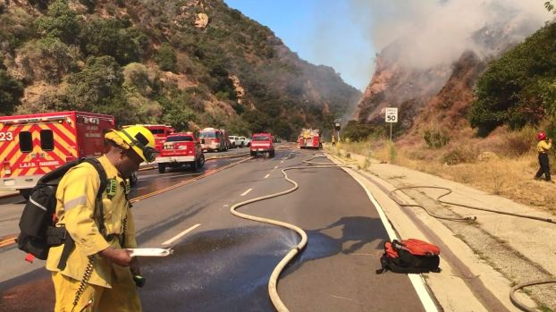 Smoke Seen for Miles as Firefighters Battle Flames in Pacific Palisades