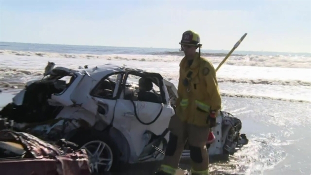 Cars Wash Up on Southern California Beach After Flood