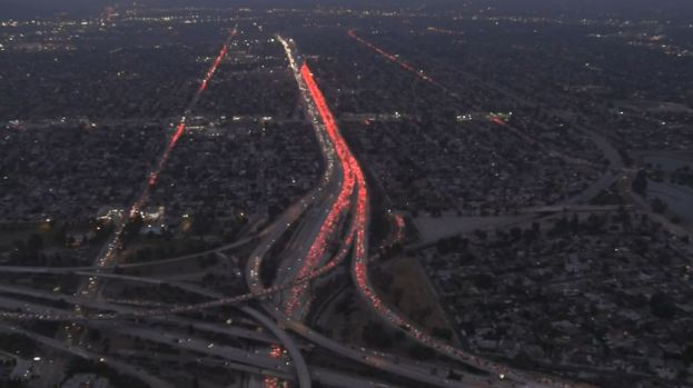 One Killed in Fiery Four-Car 5 Freeway Collision Involving
