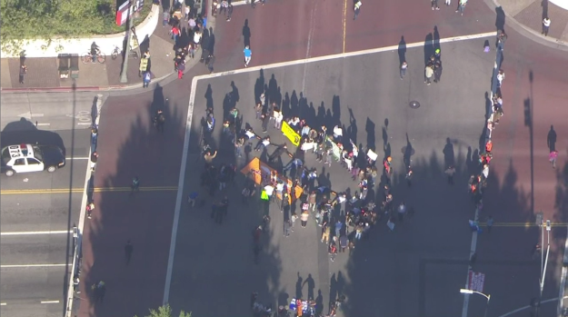 Immigration Policy Protest in Downtown Los Angeles