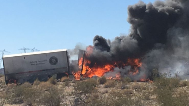 Big Rig and Bus Carrying Cheerleading Squad Crash in Desert