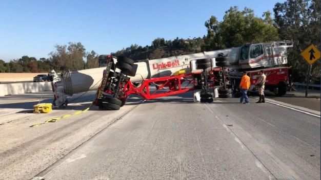 Overturned Crane Blocks Lanes on 210 Freeway