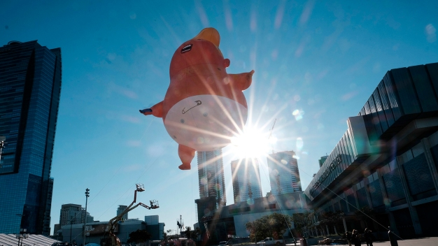 Baby Trump Balloon Angrily Floats Over Downtown LA