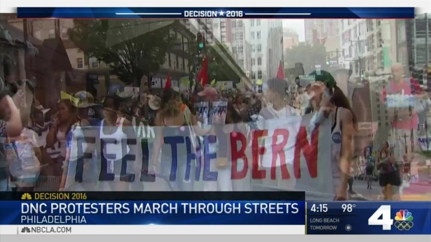 Bernie Sanders Supporters Protest Outside DNC