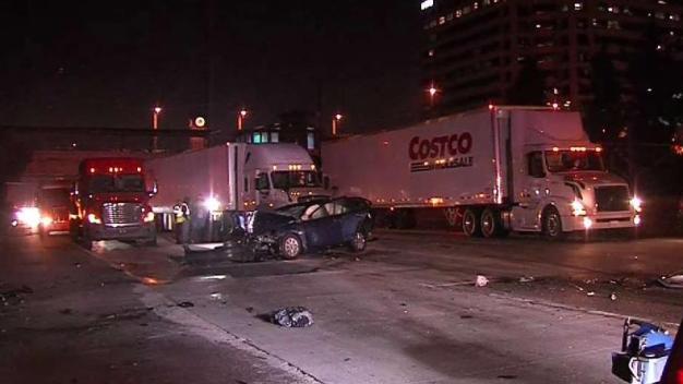 Big Rig Crash Closes Freeway in Pasadena