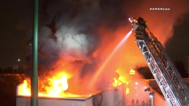 Watch: Fire Burns Storage Units in Long Beach