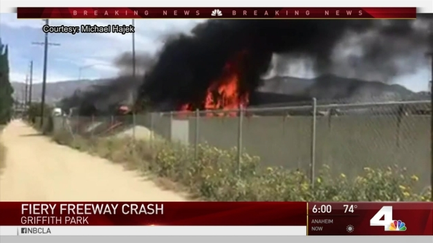 Freeway Still Closed After Fiery Wreck