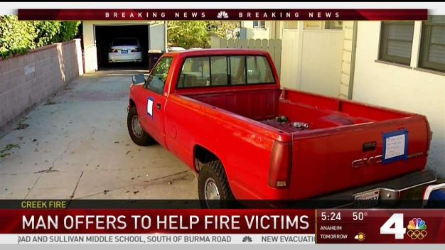 Glendale Man Offers Truck to Help Fire Victims