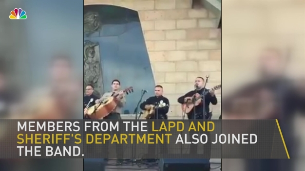 LAPD Officer Serenades Crowd With Mariachi Band