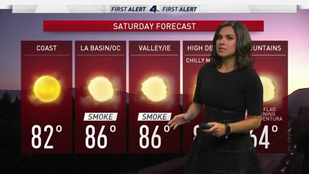 First Alert Forecast: Winds Decrease as Fires Still Burn