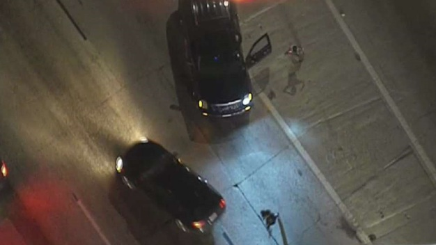 Wrong-Way Police Chase Ends With Suspects Running on 110 Freeway