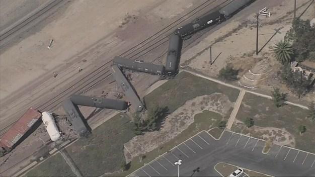 Raw Video: Tanker Cars Derail in San Bernardino