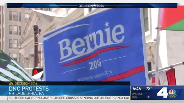 Sanders Supporters Protest Ahead of Second Day of DNC