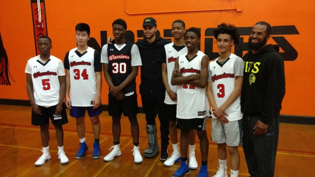 Curry Gifts McClymonds HS Basketball Players With New Gear