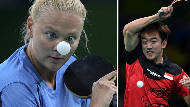 The Intense Faces of Olympic Table Tennis Players}