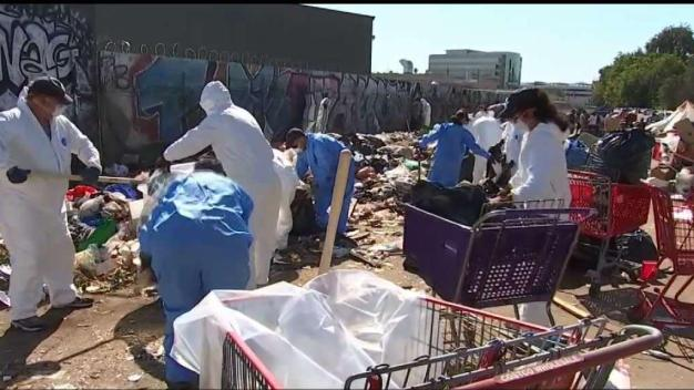 Volunteers Help Clean Homeless Encampment in Van Nuys