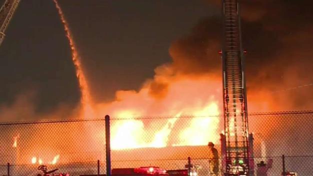 Fire Burns Warehouse in Compton