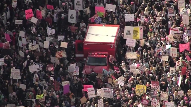 Massive Crowds Gather for Women's March Los Angeles