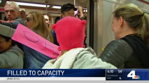 Womens March Demonstrators Fill Metro to Capacity